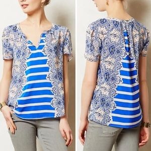 ANTHROPOLOGIE Maeve Archivist Paisley Striped Top